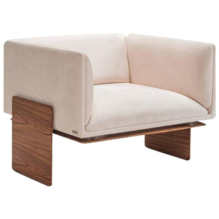 Square with Base Coated in Wood - Koana Armchair For Sale