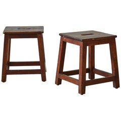 Square Wooden Stools with Center Handles