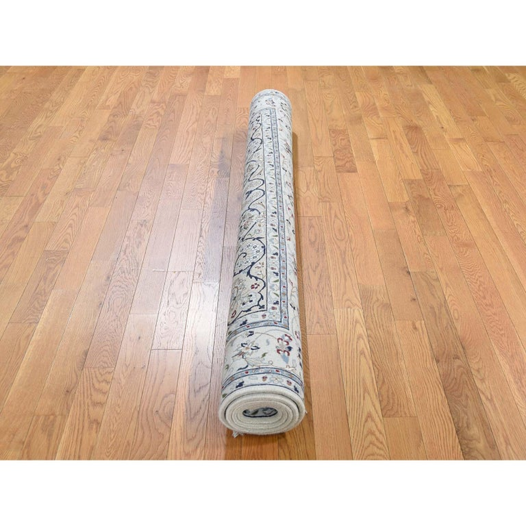 Indian Square Wool and Silk 250 KPSI Ivory Nain Hand Knotted Oriental Rug For Sale
