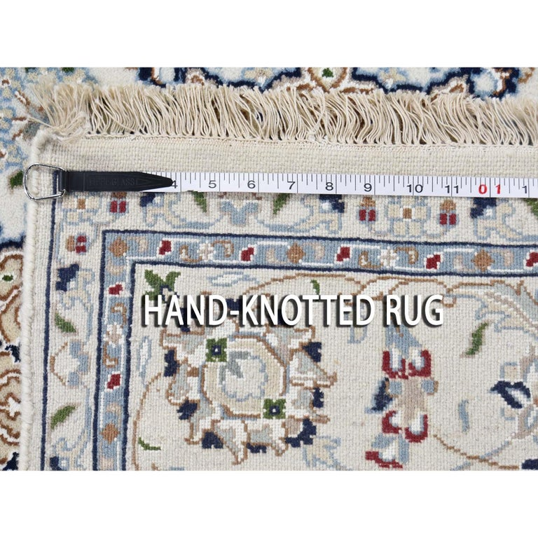 Square Wool and Silk 250 KPSI Ivory Nain Hand Knotted Oriental Rug In New Condition For Sale In Carlstadt, NJ