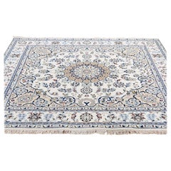 "Square Wool and Silk 250 KPSI Ivory Nain Hand-Knotted Oriental Rug, 6'0""x6'0"""