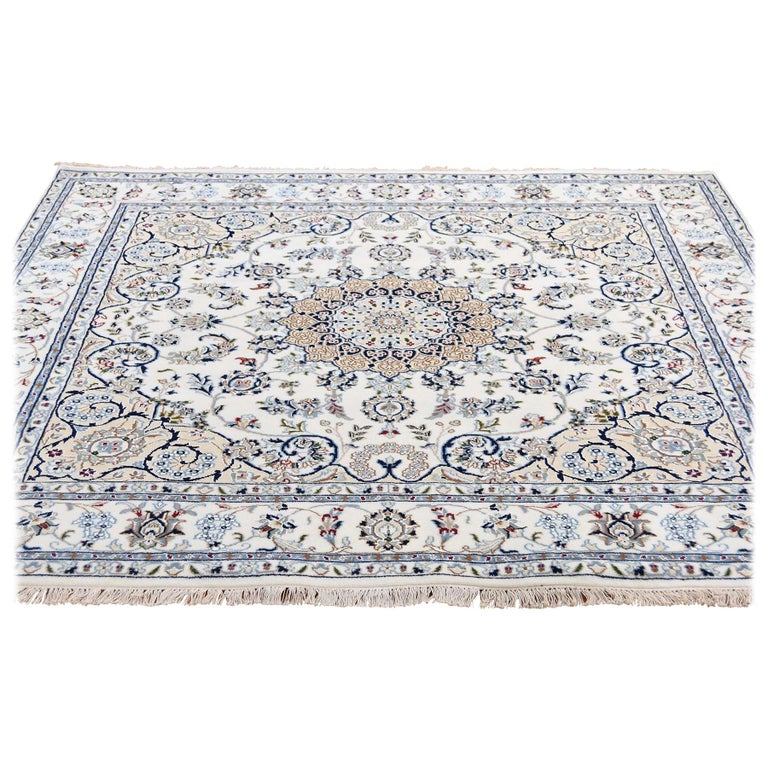 Square Wool and Silk 250 KPSI Ivory Nain Hand Knotted Oriental Rug For Sale