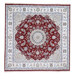 "Square Wool and Silk 250 KPSI Red Nain Hand-Knotted Oriental Rug, 7'0""x7'0"""