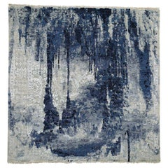 Square Wool And Silk Shibori Design Tone On Tone Hand Knotted Rug