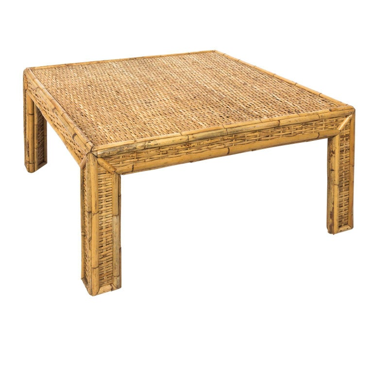Square Woven Rattan Mid-Century Modern Coffee Table For