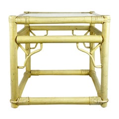 Square Yellow Chippendale Bamboo and Rattan Side Table with Glass