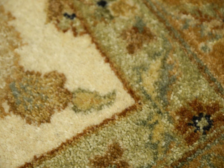Square Ziegler Mahal Design Rug Wool Pile Beige Green New from India For Sale 3