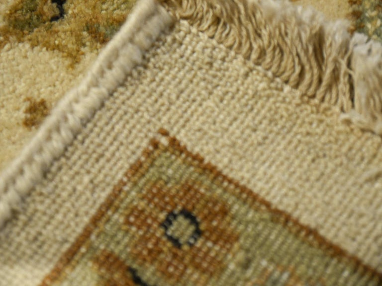 Square Ziegler Mahal Design Rug Wool Pile Beige Green New from India For Sale 4