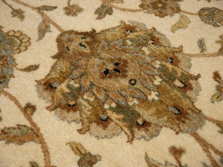 Square Ziegler Mahal Design Rug Wool Pile Beige Green New from India For Sale 9