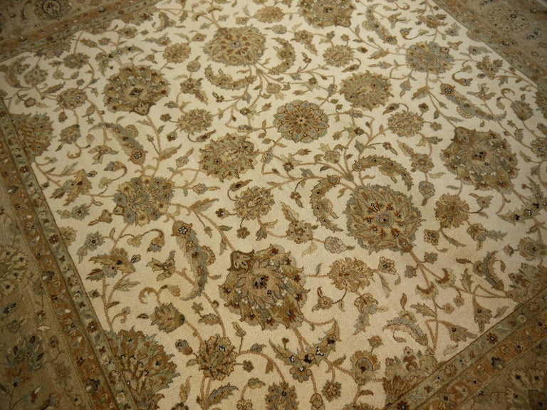 Square Ziegler Mahal Design Rug Wool Pile Beige Green New from India For Sale 11