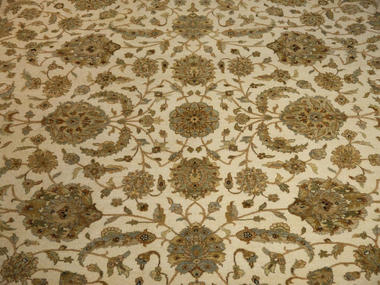 Sultanabad Square Ziegler Mahal Design Rug Wool Pile Beige Green New from India For Sale