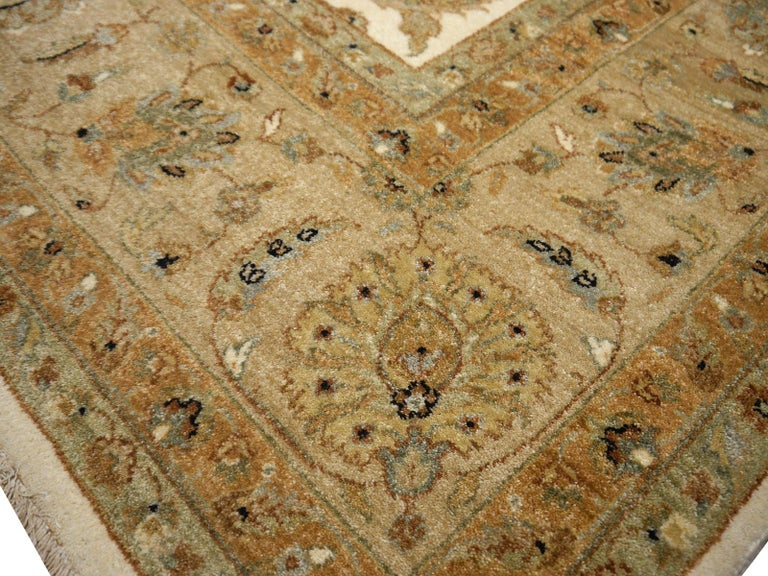 Contemporary Square Ziegler Mahal Design Rug Wool Pile Beige Green New from India For Sale
