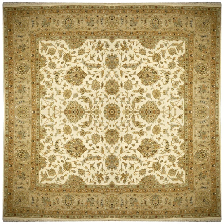 Square Ziegler Mahal Design Rug Wool Pile Beige Green New from India For Sale