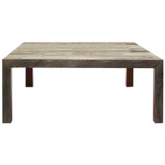 Square Zio Tom Dining Table with Brown Detail Claudio Bitetti & Mogg
