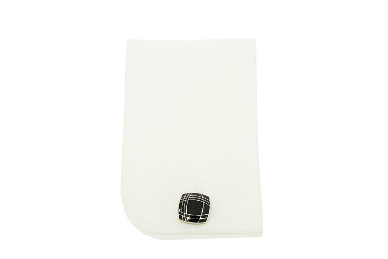 Modern Squared Black Enameled Sterling Silver Cufflinks For Sale