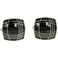 Squared Black Enameled Sterling Silver Cufflinks