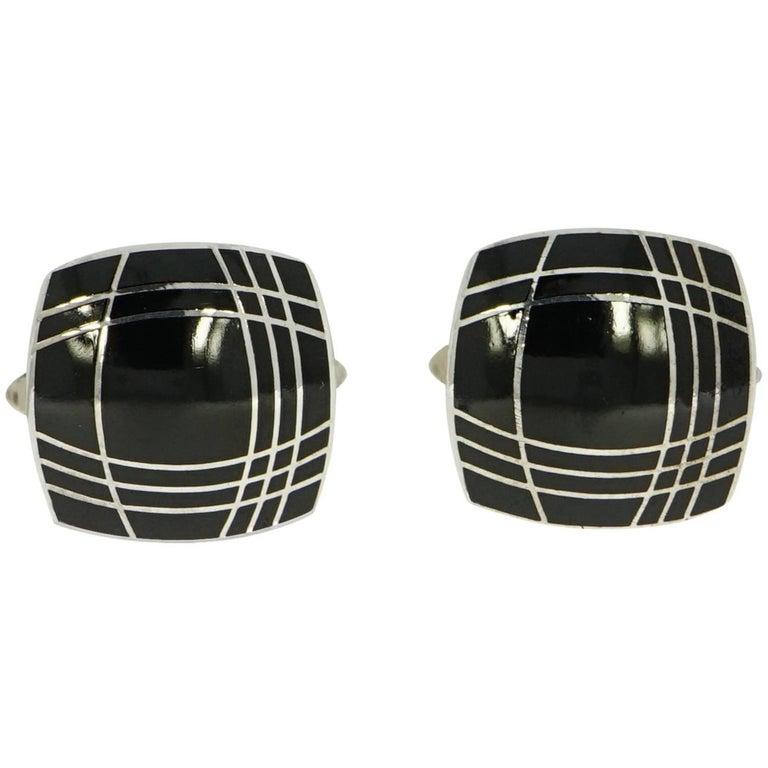 Squared Black Enameled Sterling Silver Cufflinks For Sale