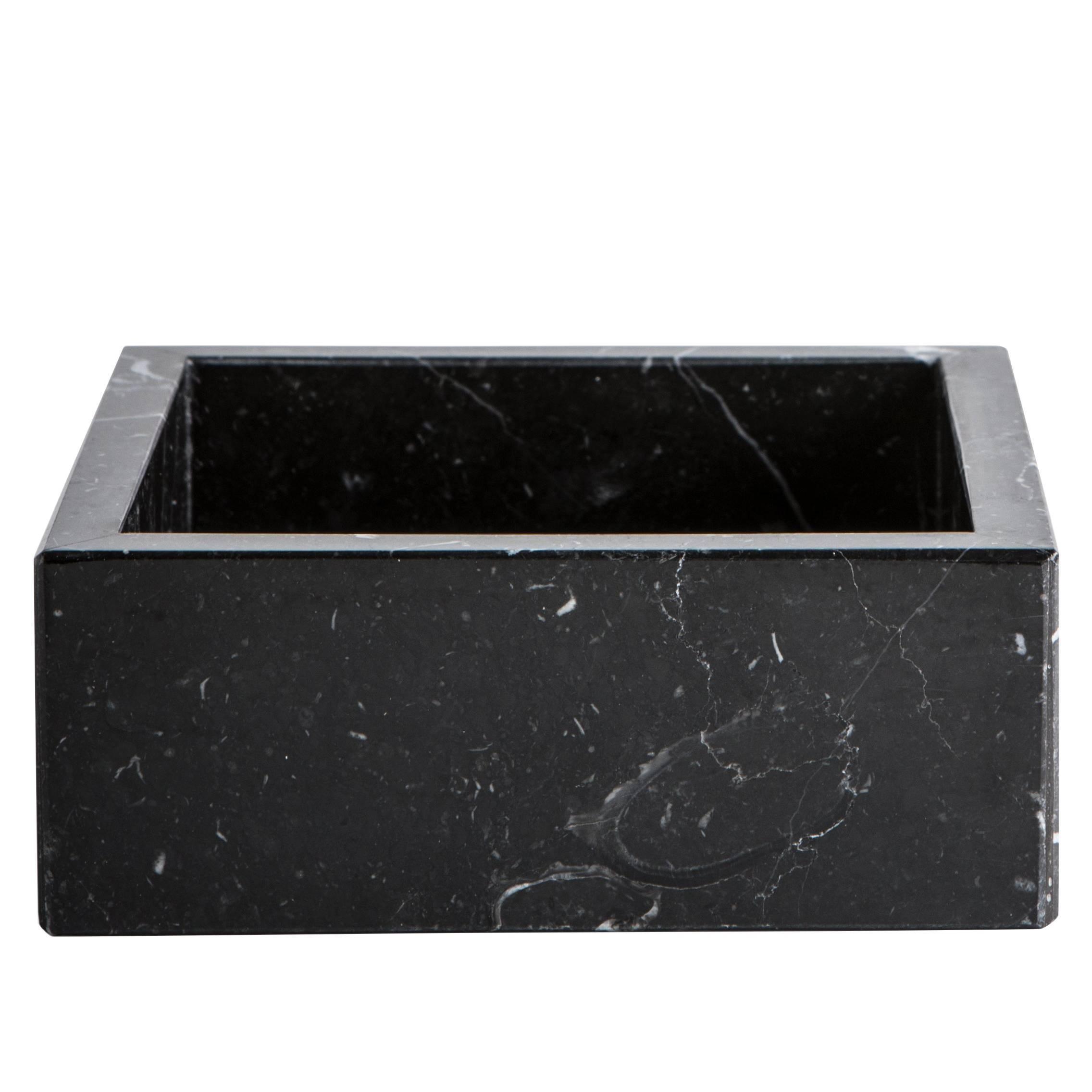 Squared Black Marquina Marble Cotton Box