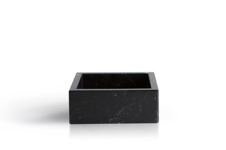Italian Squared Black Marquina Marble Guest Towel Tray For Sale