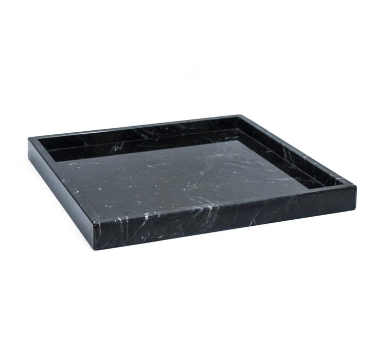 Italian Squared Black Marquina Marble Tray For Sale