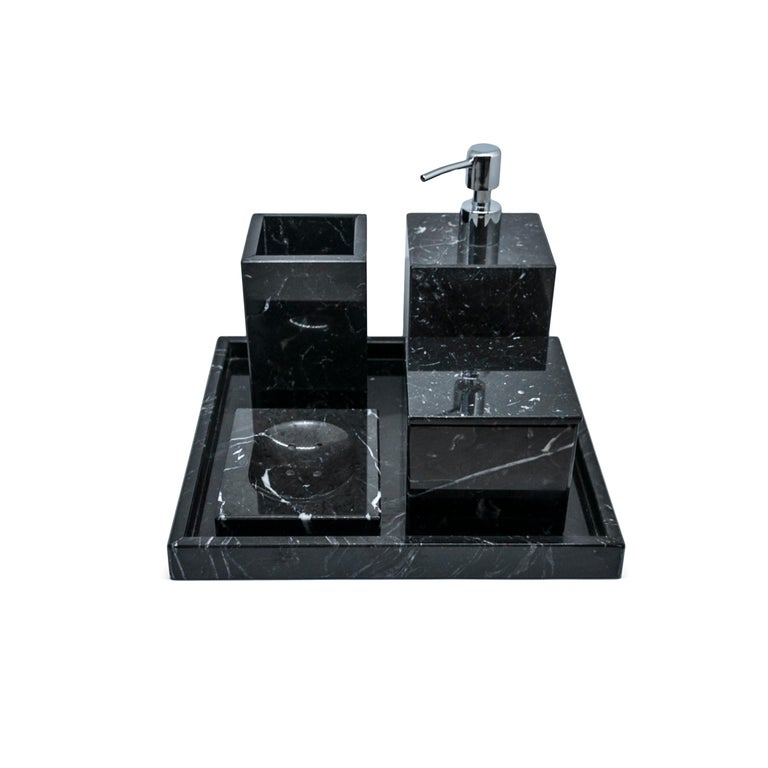 Hand-Crafted Squared Black Marquina Marble Tray For Sale