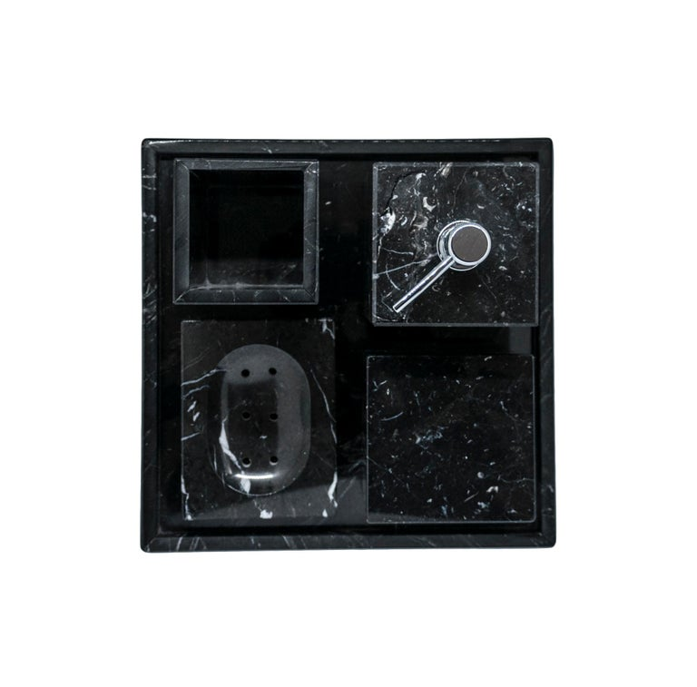 Squared Black Marquina Marble Tray In New Condition For Sale In Carrara, IT