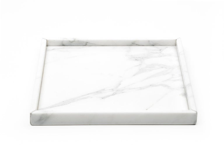 Contemporary Squared Black Marquina Marble Tray For Sale
