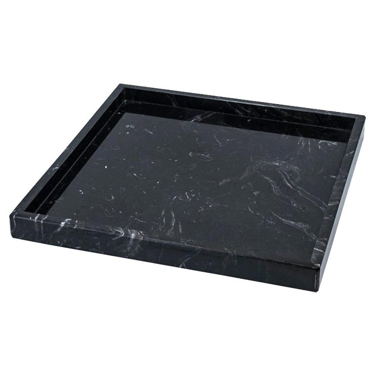 Squared Black Marquina Marble Tray For Sale
