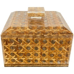 Squared Box in Lucite and Rattan, Christian Dior Style, 1970s, France
