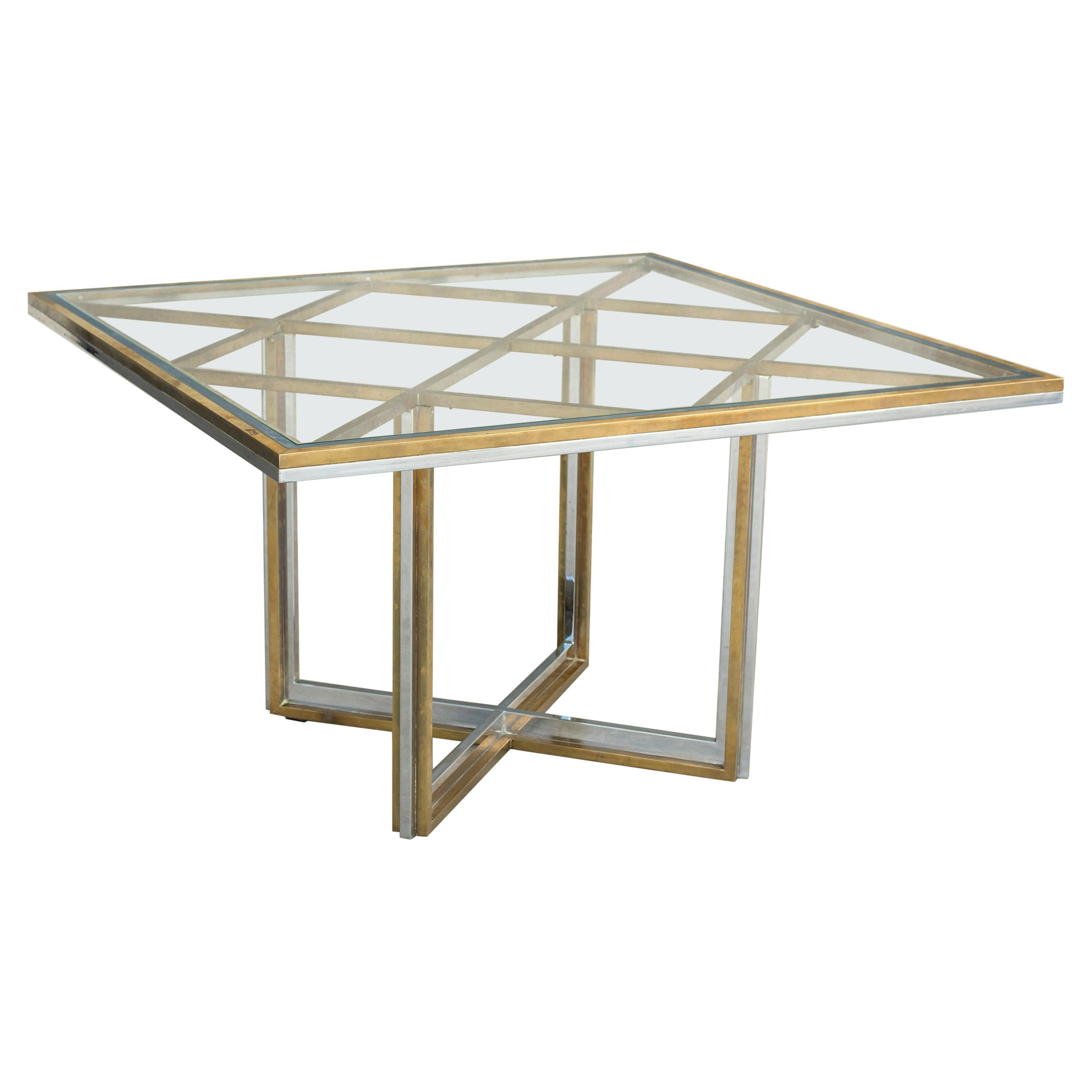 Squared Brass and Chromed Steel Crystal Tempered Top Table Romeo Rega Style