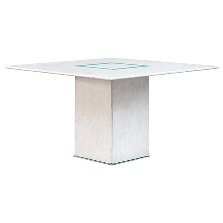 Squared Dining Marble Table by Gianfranco Frattini, 1985