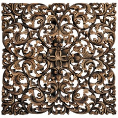 Squared Hand-Carved Flower Carving