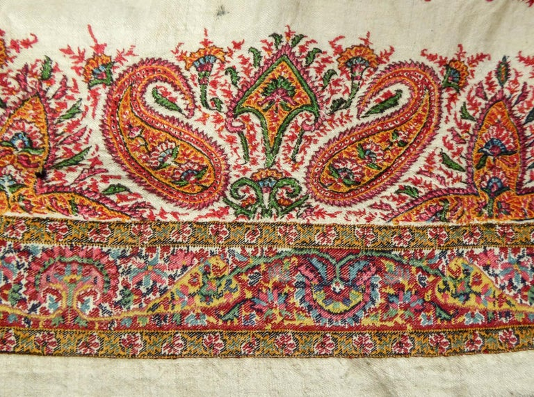 Squared Indian Embroidered Kashmir Shawl Circa 1870 For Sale 5