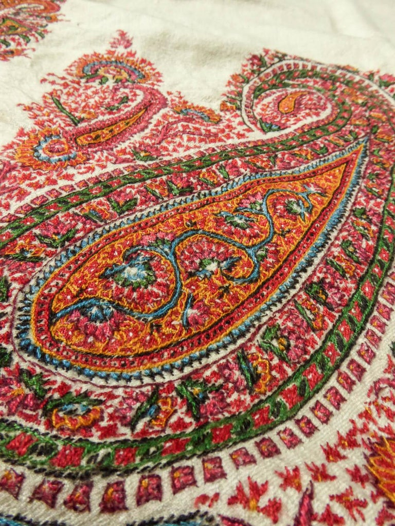Squared Indian Embroidered Kashmir Shawl Circa 1870 For Sale 6
