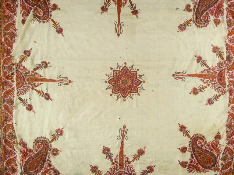 Beige Squared Indian Embroidered Kashmir Shawl Circa 1870 For Sale