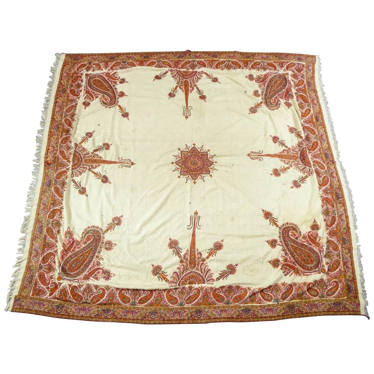 Squared Indian Embroidered Kashmir Shawl Circa 1870 For Sale