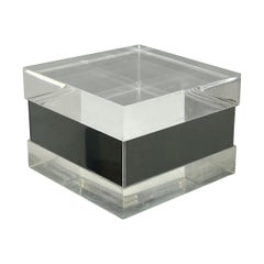 Squared Lucite and Chrome Box, Italy, 1970s