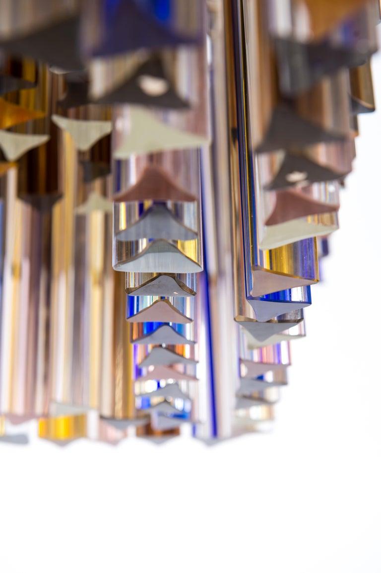 Squared Murano Glass Chandelier Light colors Trieders Giovanni Dalla Fina, Italy For Sale 3