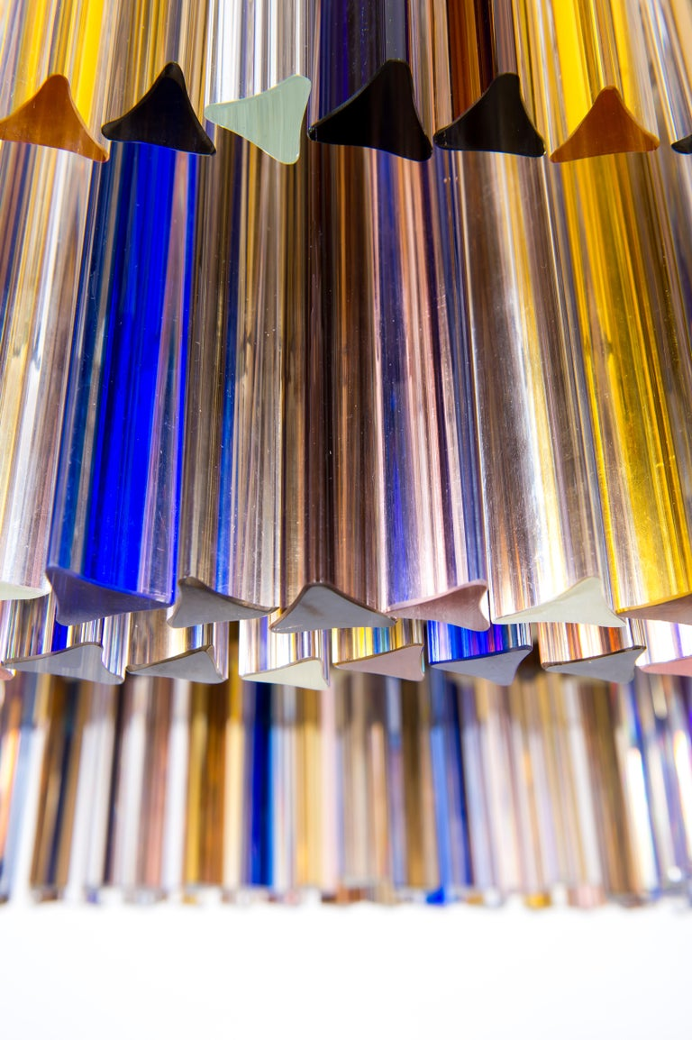 Squared Murano Glass Chandelier Light colors Trieders Giovanni Dalla Fina, Italy For Sale 4