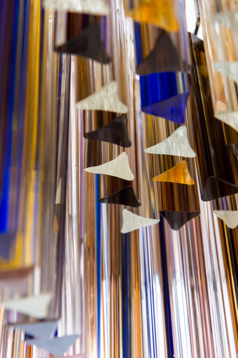 Squared Murano Glass Chandelier Light colors Trieders Giovanni Dalla Fina, Italy For Sale 5