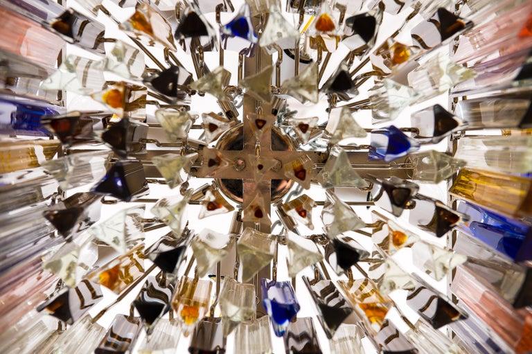 Squared Murano Glass Chandelier Light colors Trieders Giovanni Dalla Fina, Italy For Sale 7