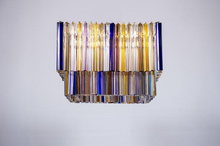 Squared Murano Glass Chandelier Light colors Trieders Giovanni Dalla Fina, Italy For Sale 13