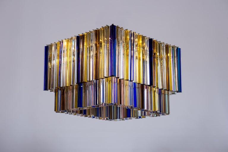 Art Deco Squared Murano Glass Chandelier Light colors Trieders Giovanni Dalla Fina, Italy For Sale