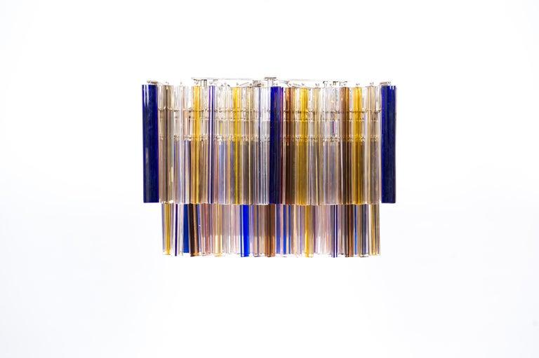 Italian Squared Murano Glass Chandelier Light colors Trieders Giovanni Dalla Fina, Italy For Sale