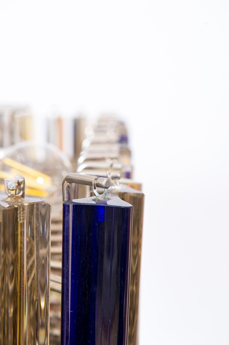 Squared Murano Glass Chandelier Light colors Trieders Giovanni Dalla Fina, Italy In Excellent Condition For Sale In Villaverla, IT