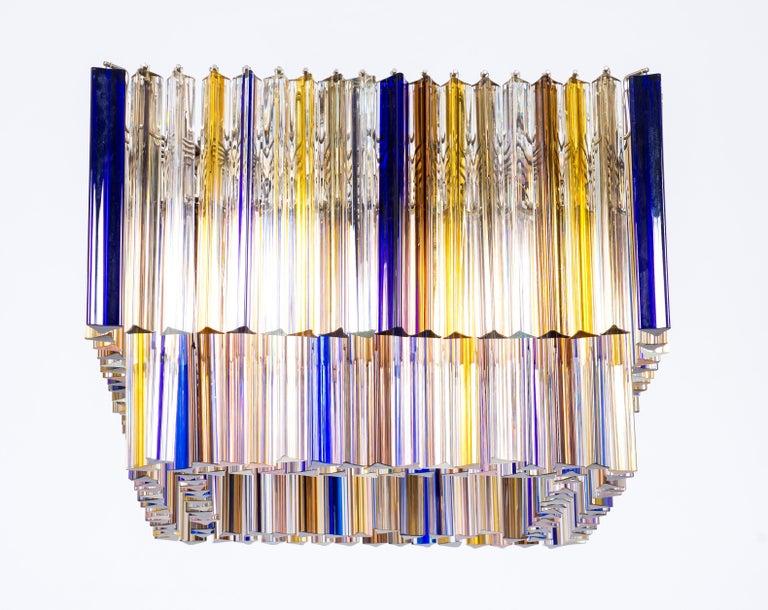 Squared Murano Glass Chandelier Light colors Trieders Giovanni Dalla Fina, Italy For Sale 1
