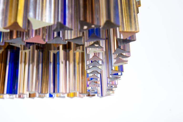 Squared Murano Glass Chandelier Light colors Trieders Giovanni Dalla Fina, Italy For Sale 2