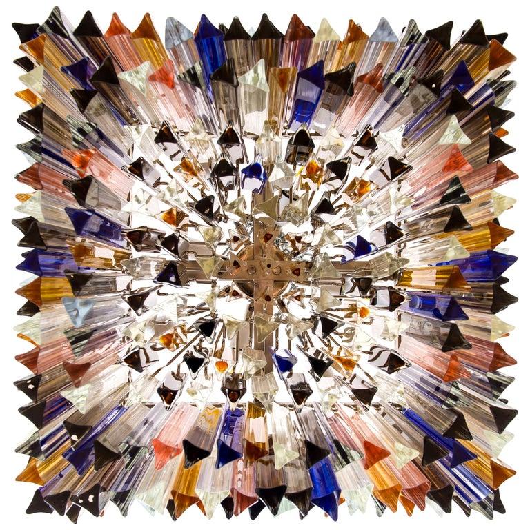 Squared Murano Glass Chandelier Light colors Trieders Giovanni Dalla Fina, Italy For Sale