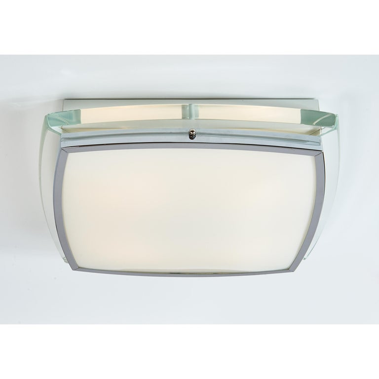 Mid-Century Modern Squared Nickeled Flush Mount with Thick Clear Glass Frame, 1970s For Sale