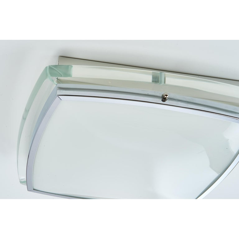 Italian Squared Nickeled Flush Mount with Thick Clear Glass Frame, 1970s For Sale